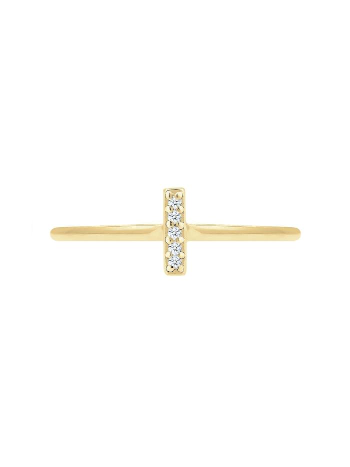 Ring Kreuz Symbol Geo Diamant (0.025 Ct.) 375 Gelbgold