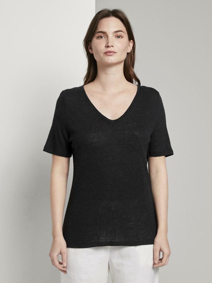 Tom Tailor mine to five Leinen T-Shirt mit V-Ausschnitt, deep black