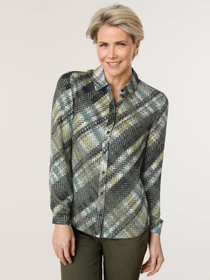 MONA Bluse mit eindrucksvollem Karo-Dessin, Oliv/Limettengrün