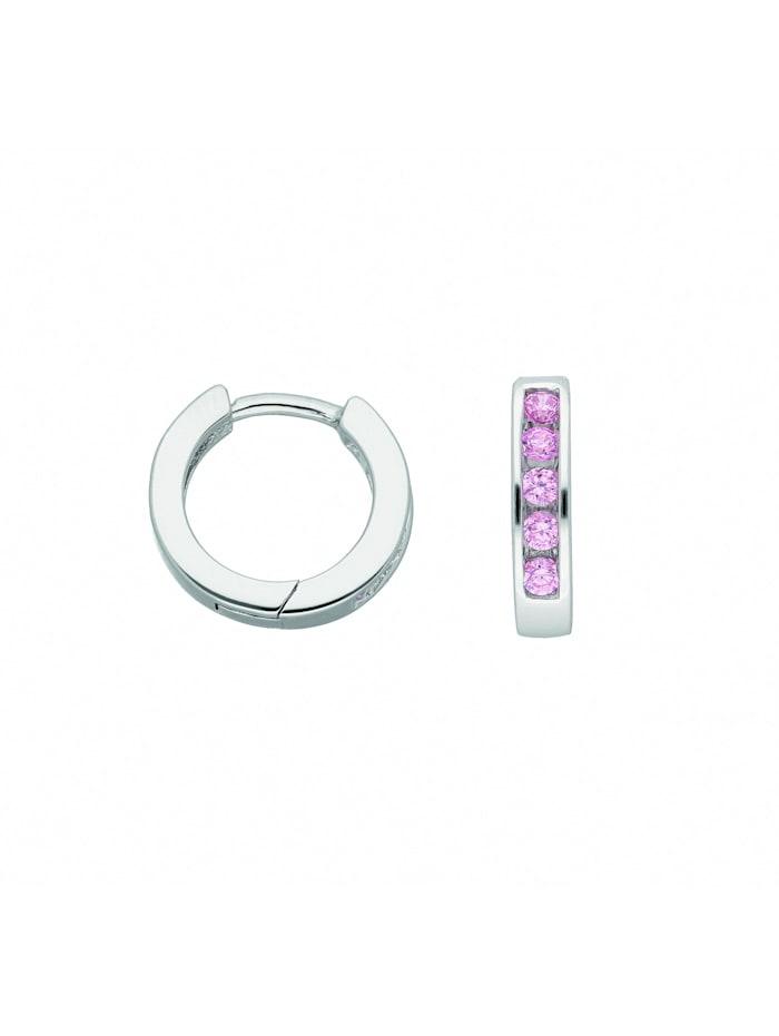 1001 Diamonds Damen Silberschmuck 925 Silber Ohrringe / Creolen mit Zirkonia Ø 12,2 mm, bunt