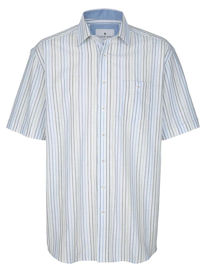 Roger Kent Košeľa z čistej bavlny, Biela/Zelená
