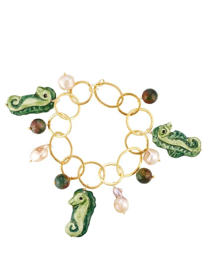 Armband mit Süßwasser-Zuchtperlen und Jade, Multicolor