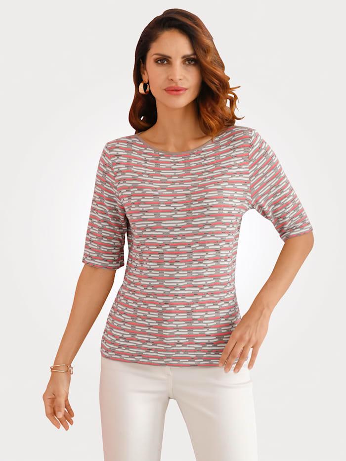 Barbara Lebek Shirt met minimaldessin, Taupe/Koraal