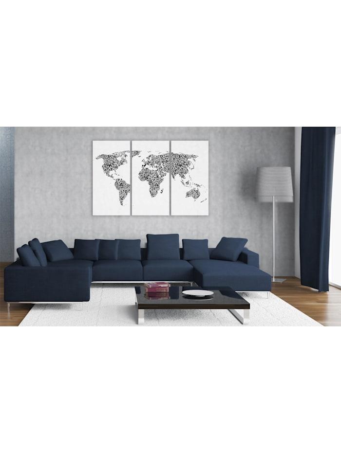 Wandbild Weltkarte - Alphabet - Triptychon