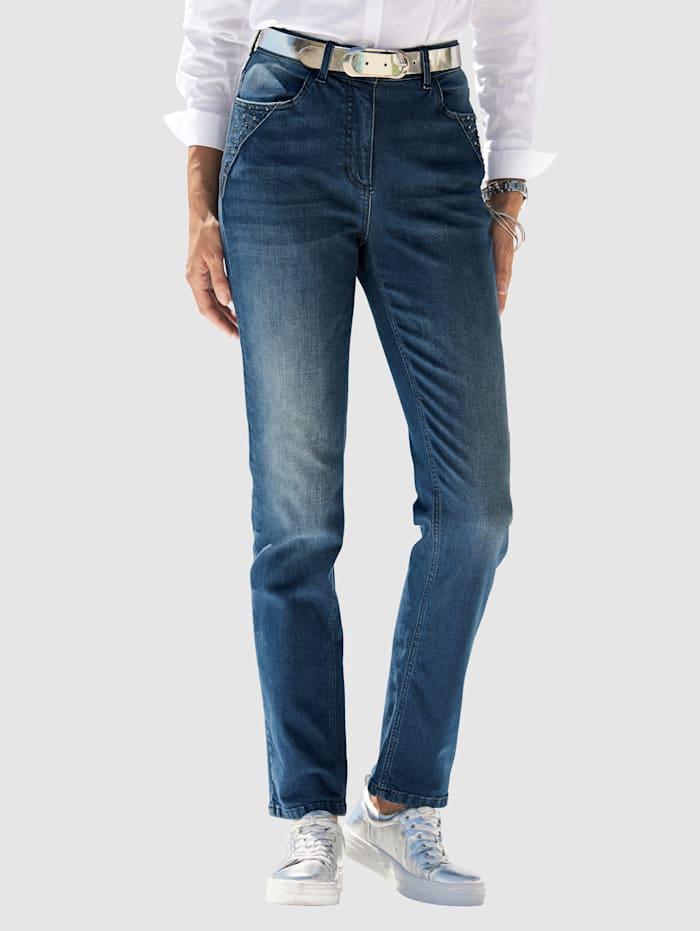 MONA Jeans met strassteentjes, Blauw