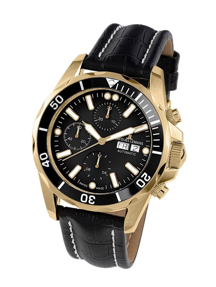 Jacques Lemans Herren-Uhr-Automatik-Chronograph Serie: Liverpool Automatic, Kollektion: Classic: 1- 1926D, Schwarz