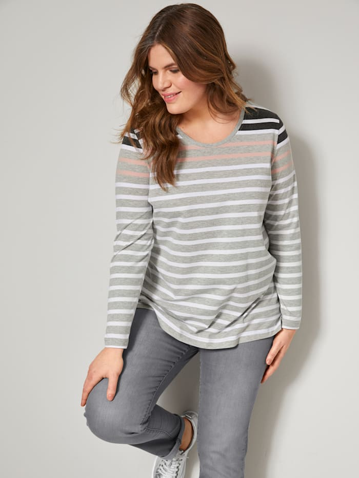 Janet & Joyce Shirt in Streifen-Optik, Grau/Rosé