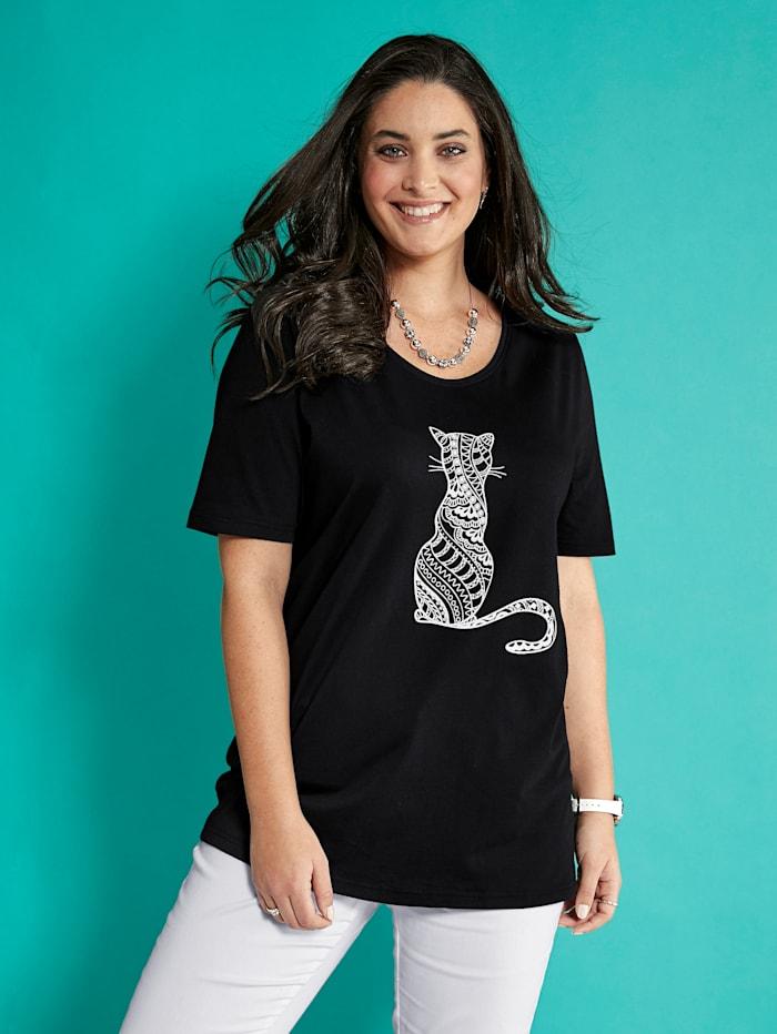 MIAMODA Shirt mit Katzenmotiv, Schwarz
