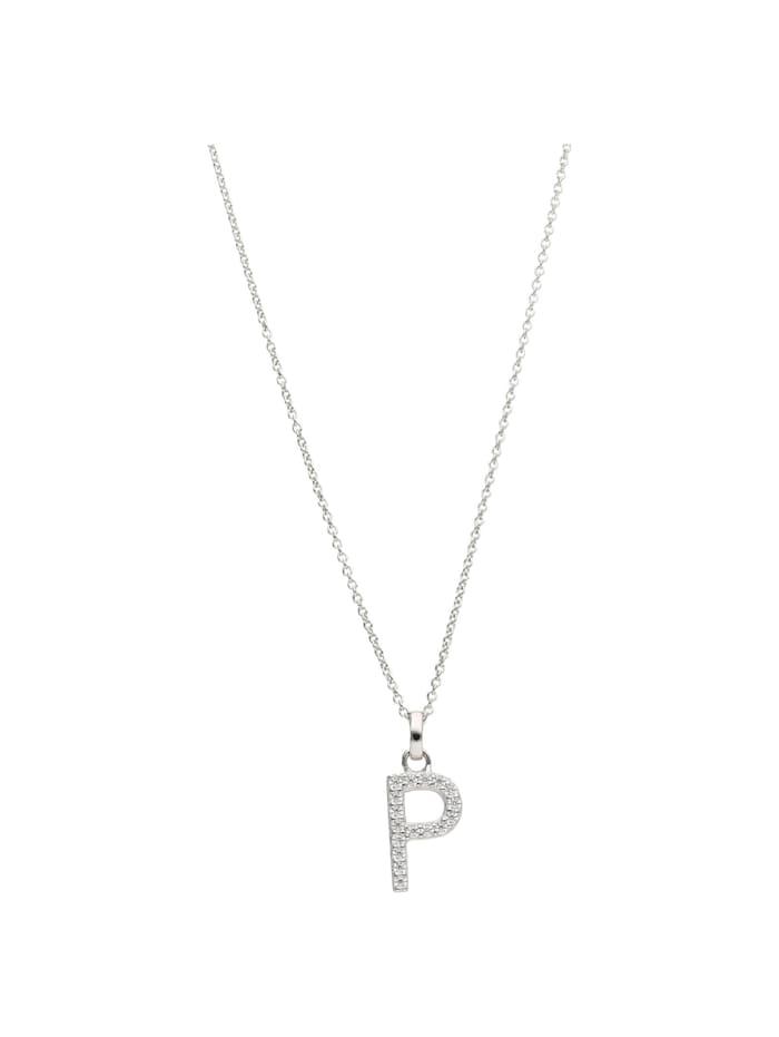 Smart Jewel Kette Buchstabe P mit Zirkonia Steine, Silber 925, Silber