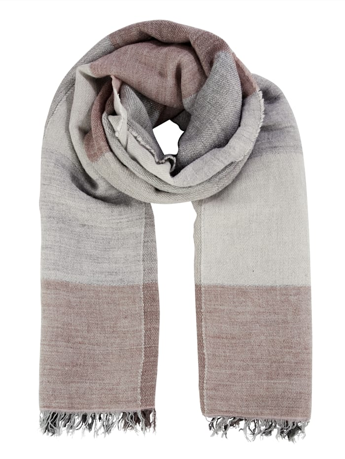 MONA Scarf with a hint of wool, Rosé/Grey