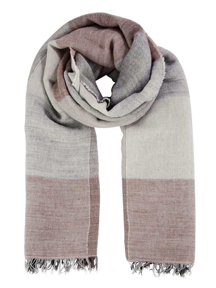 MONA Sjal med ull, Rosa/Grå