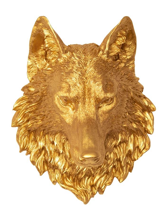 IMPRESSIONEN living Wand-Deko, Wolfskopf, goldfarben