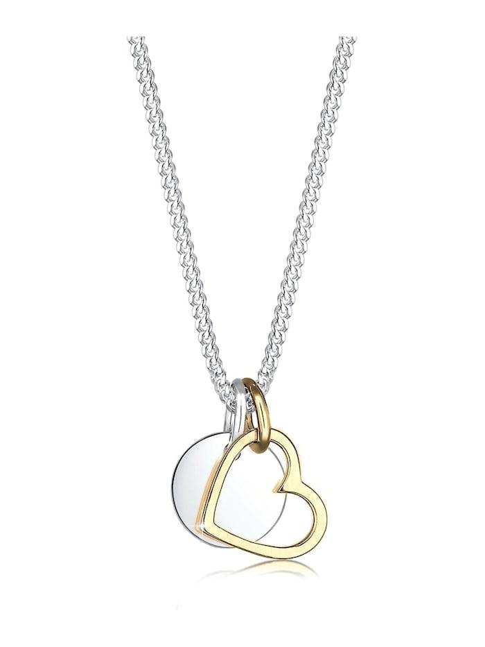 Elli Halskette Herz Kreis Plättchen Bi-Color 925 Silber, Gold