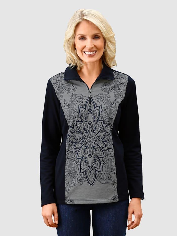 Paola Sweatshirt mit Paisleymotiv, Marineblau/Grau