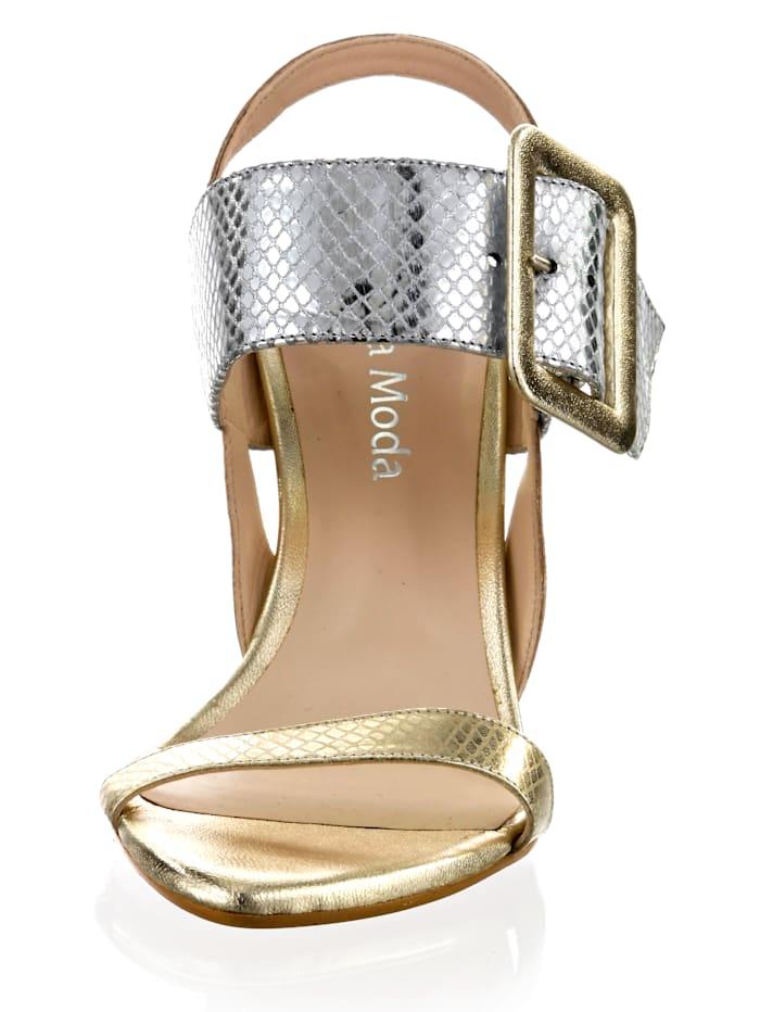 Sandalette in metallischem Reptil