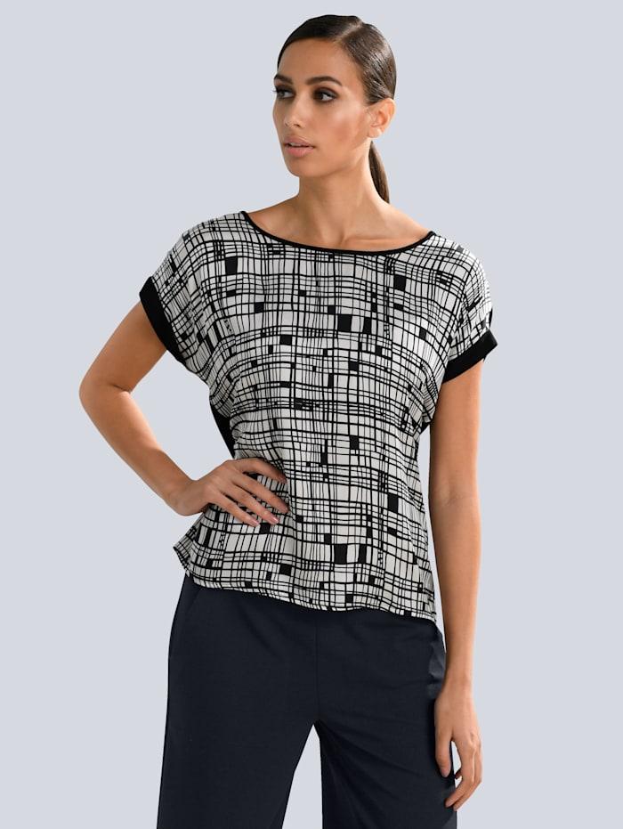 Alba Moda Shirt mit Grafik Print im Vorderteil, Schwarz/Weiß