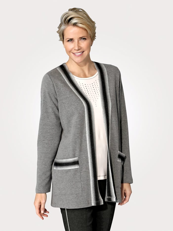 MONA Jacket with contrast tipping to the trims and pockets, Grey