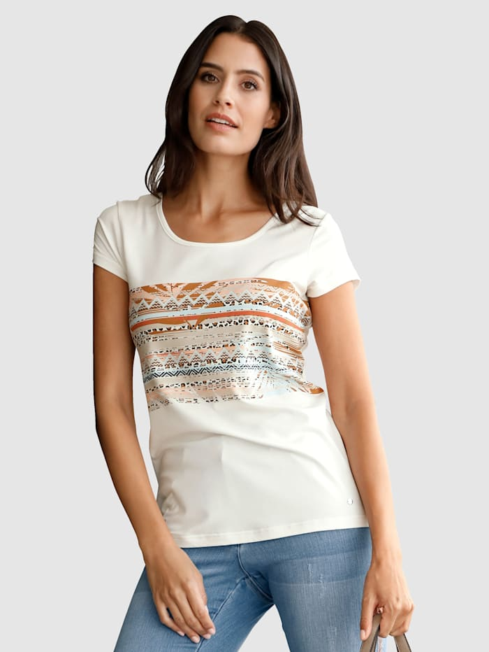 Laura Kent Shirt met trendy print, Ecru