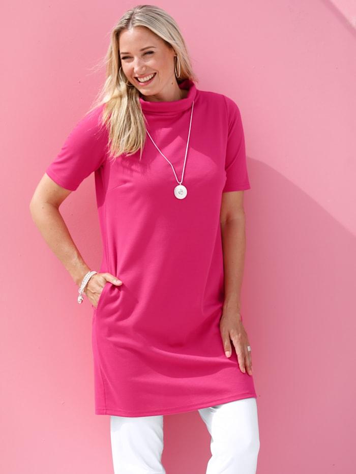 MIAMODA Longshirt mit halsfernem Rundumkragen, Pink