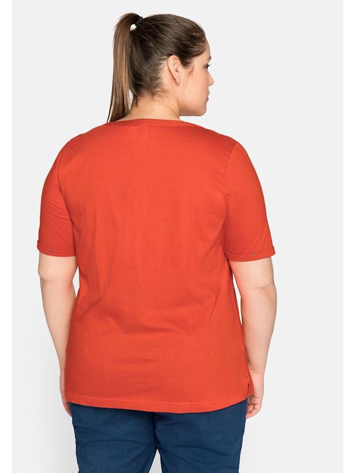 Sheego T-Shirt mit Bindeband am Auschnitt