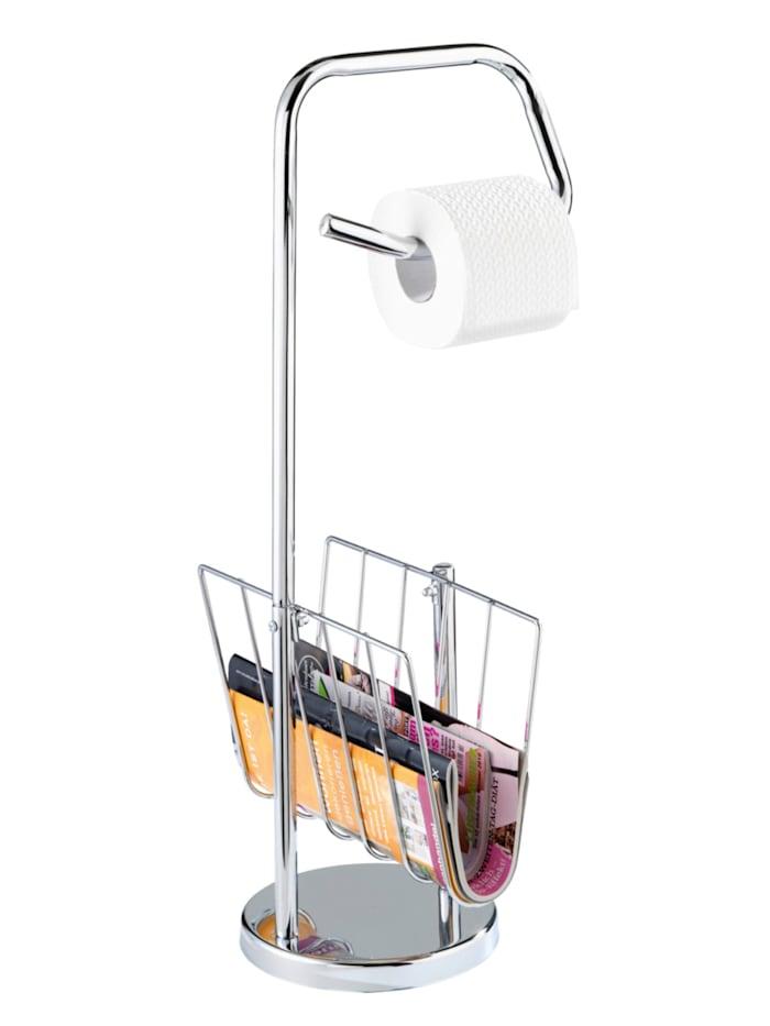 Wenko Stand WC-Garnitur mit Zeitungshalter Chrom, Chrom