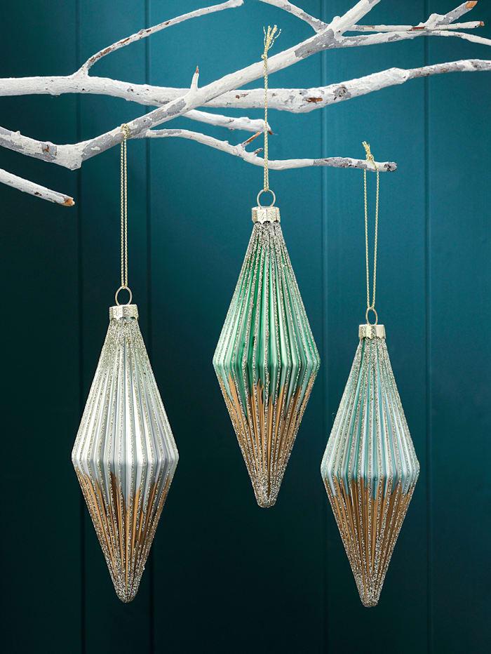 3er Set Weihnachtsbaumkugeln, Farbmix