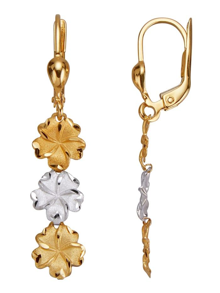 Blüten-Ohrringe, Gelbgoldfarben