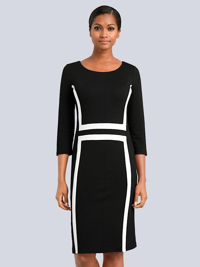 Alba Moda Kleid mit Kontrastblenden, Schwarz/Weiß