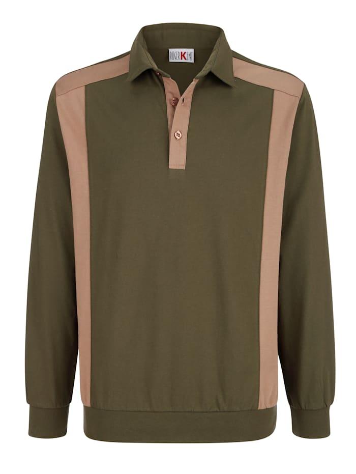 Roger Kent Poloshirt met contrasterende details, Olijf/Zand