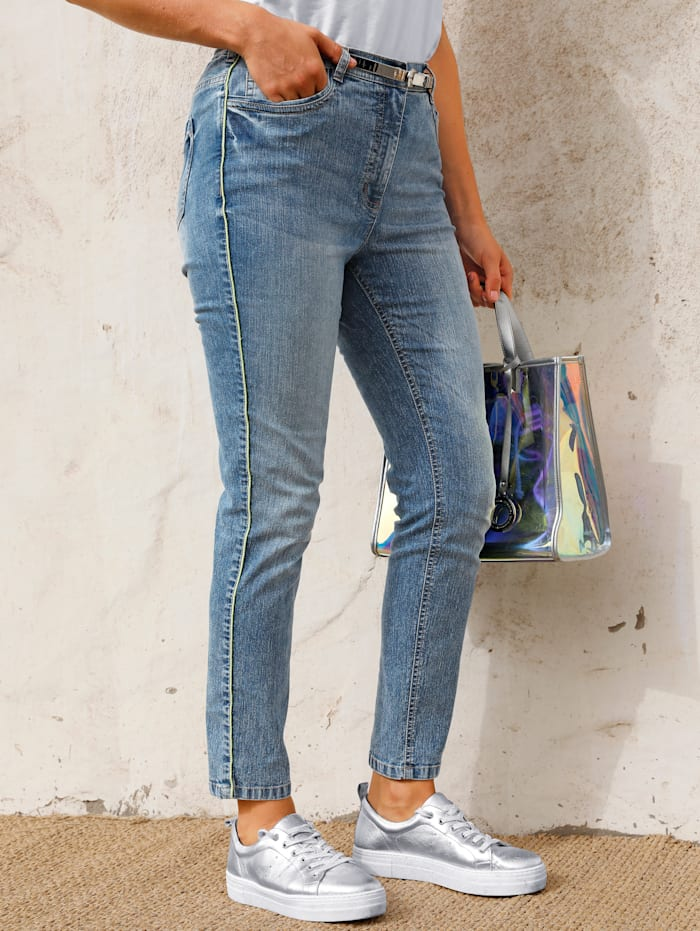 MIAMODA Jeans mit neonfarbener Paspel, Blue bleached