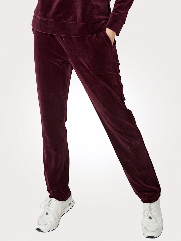 MONA Pantalon à taille élastiquée en velours ras, Baies