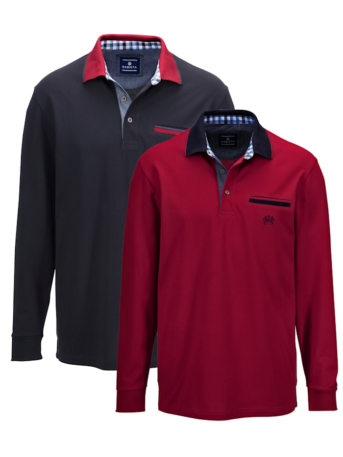 Poloshirts per 2 met contrastkleurige kraag