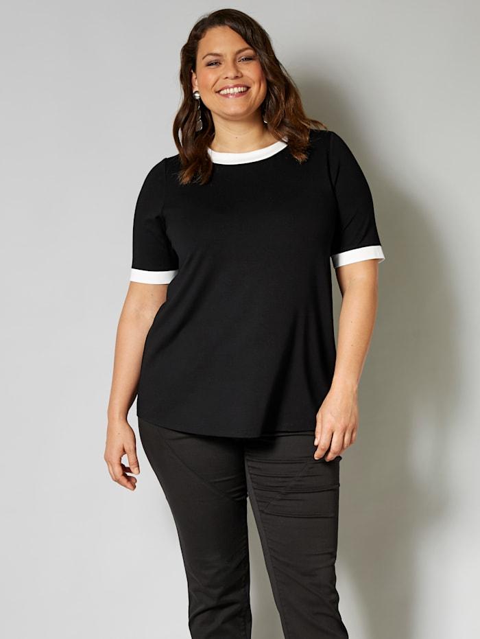 Sara Lindholm Shirt mit Kontrastverarbeitung, Schwarz