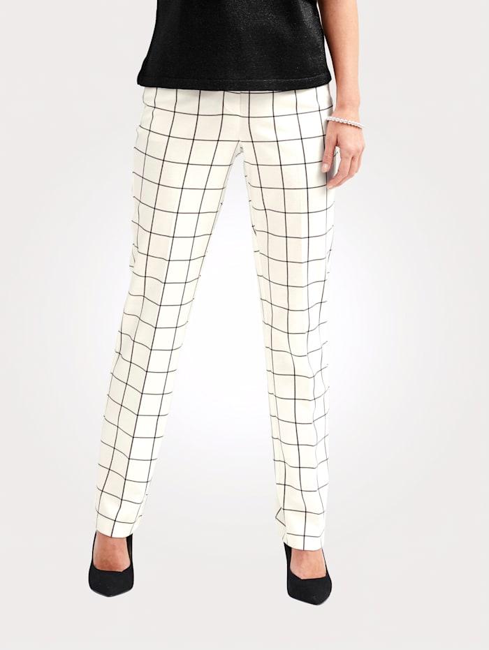 MONA Pantalon à carreaux, Écru/Noir