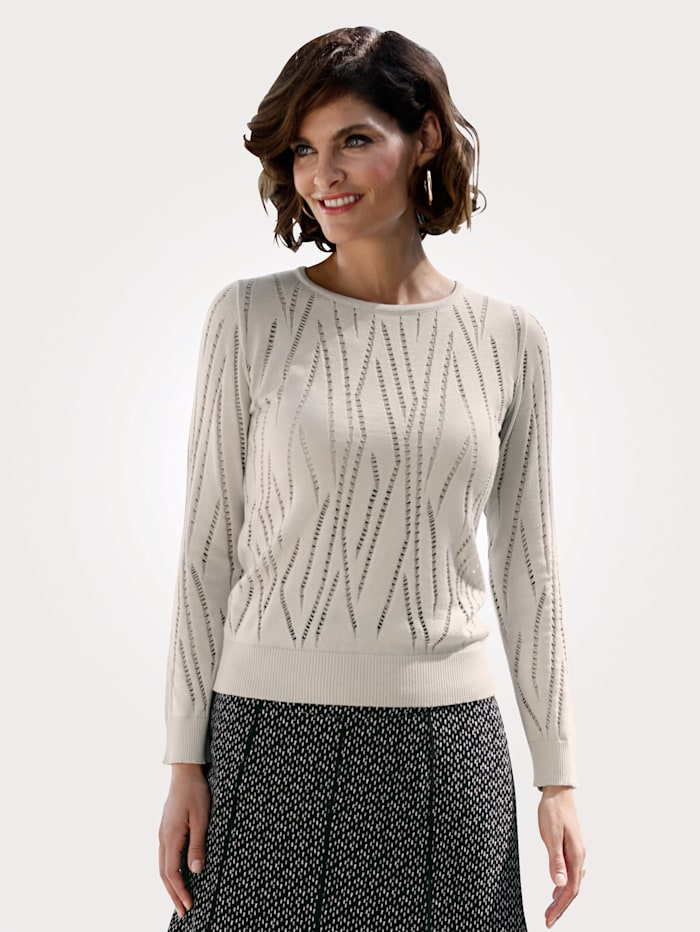 MONA Jumper with ajour knit detailing, Beige