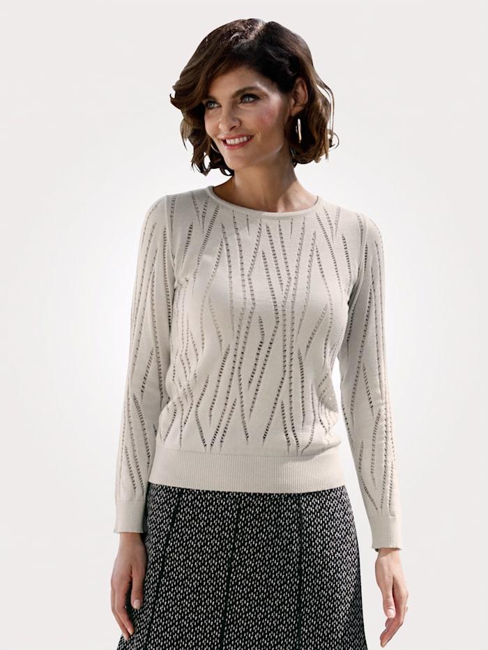 MONA Pullover mit Ajoureffekten, Beige