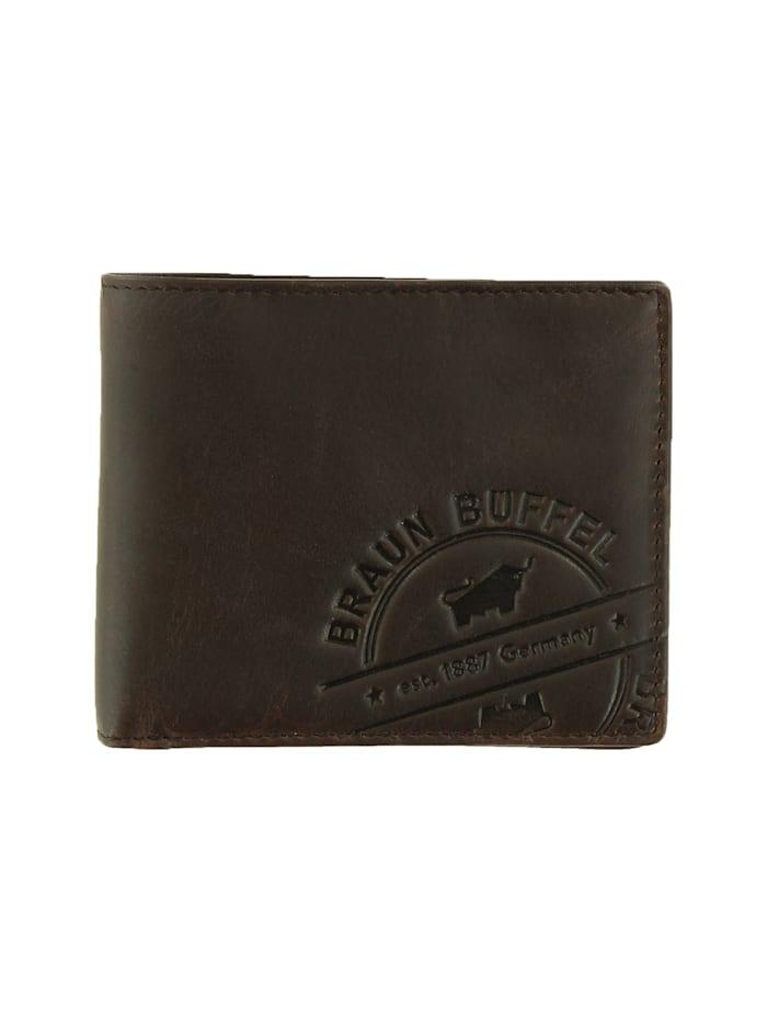 Braun Büffel Lederbörse PARMA LP 4+3CS mit Logo-Prägung, braun