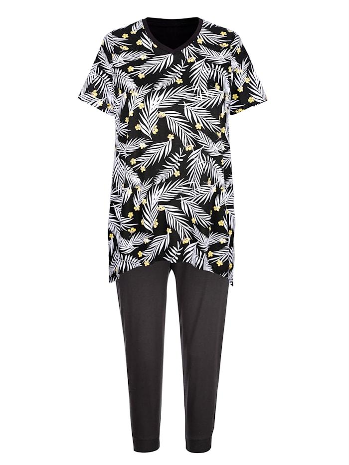 Blue Moon Pyjama met speelse, puntige zoom, Zwart/Wit/Geel