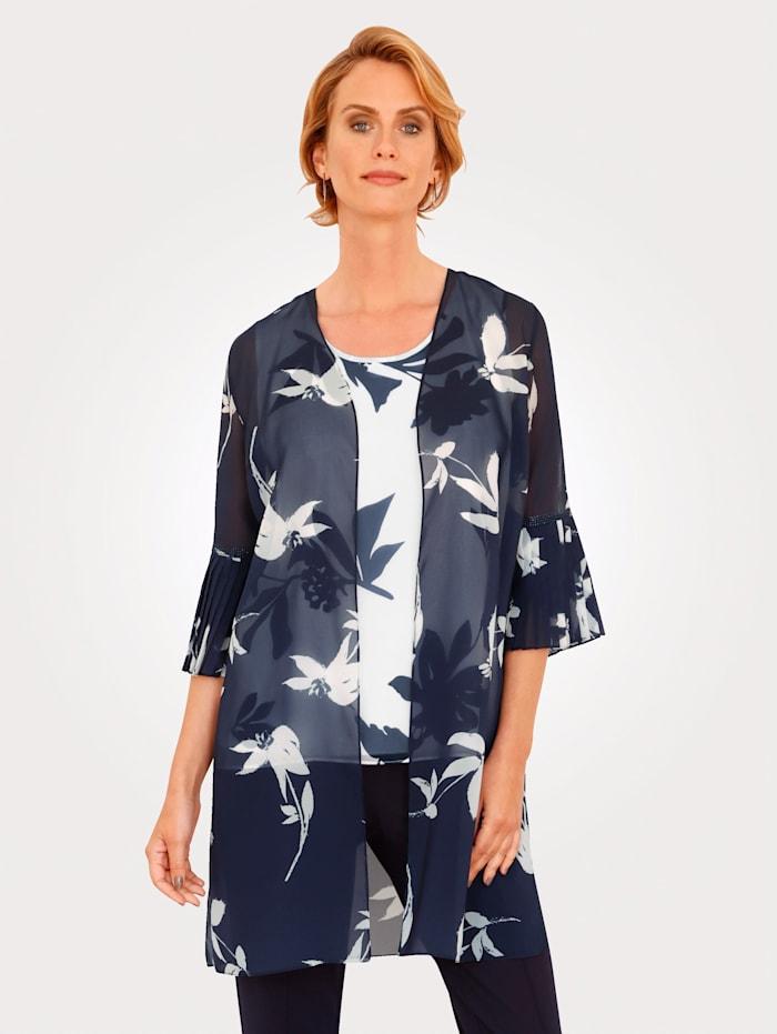 MONA Lange blouse met bloemenprint, Marine/Ecru