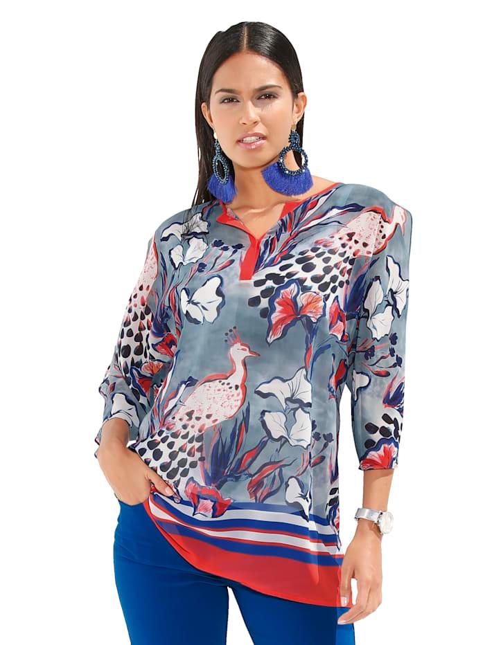 AMY VERMONT Bluse mit besonderem Druckmix, Royalblau/Koralle
