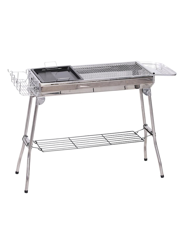 Outsunny Holzkohlegrill mit Ablage, silber