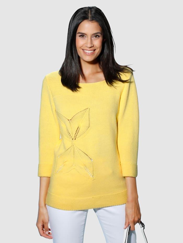 Dress In Pulóver s ažúrovým pletením, Žltá