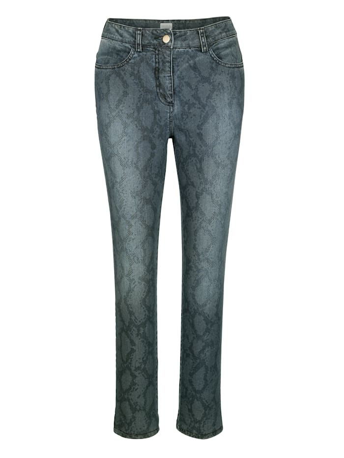 Jeans im trendigen Schlangenmuster