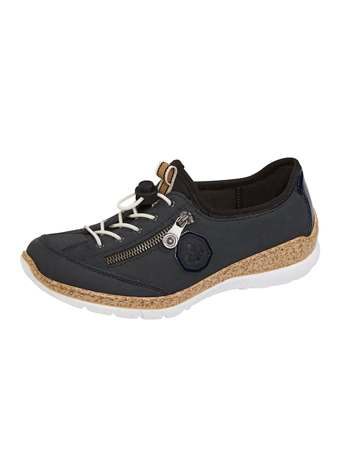 Rieker Lace-up shoes with side zip detail, Dark Blue