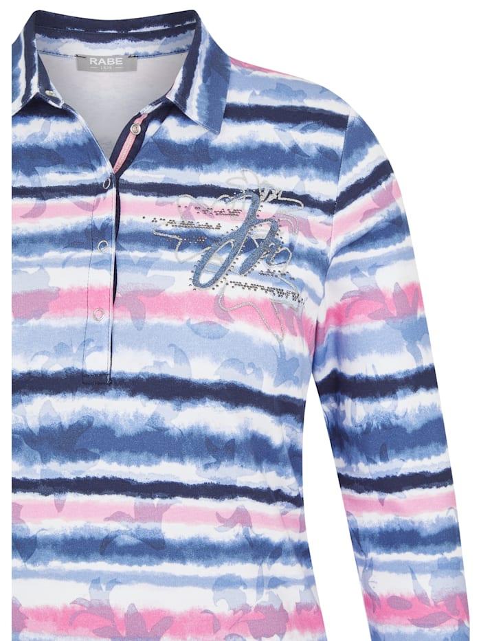 Shirt mit geringelten, floralen Elementen und Glitzersteinen