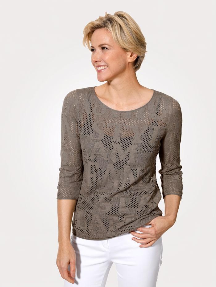 MONA Pullover mit tonig gestrickten Schriftzügen, Taupe
