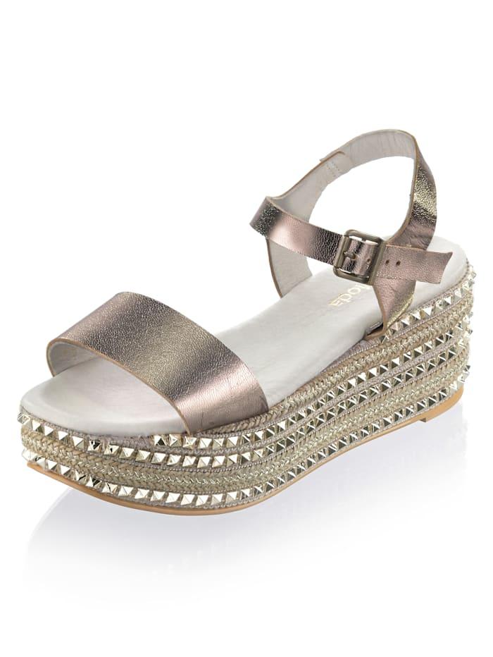 Alba Moda Sandalette aus Perlatoleder, Natur