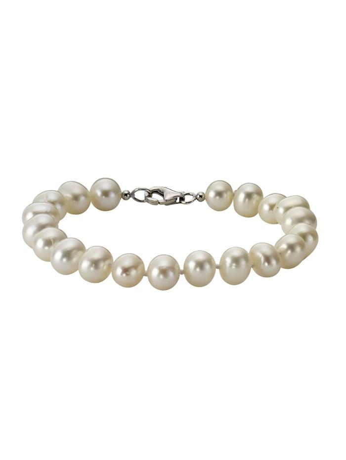 Armband 925/- Sterling Silber Süßwasserzuchtperle weiß 19cm Glänzend