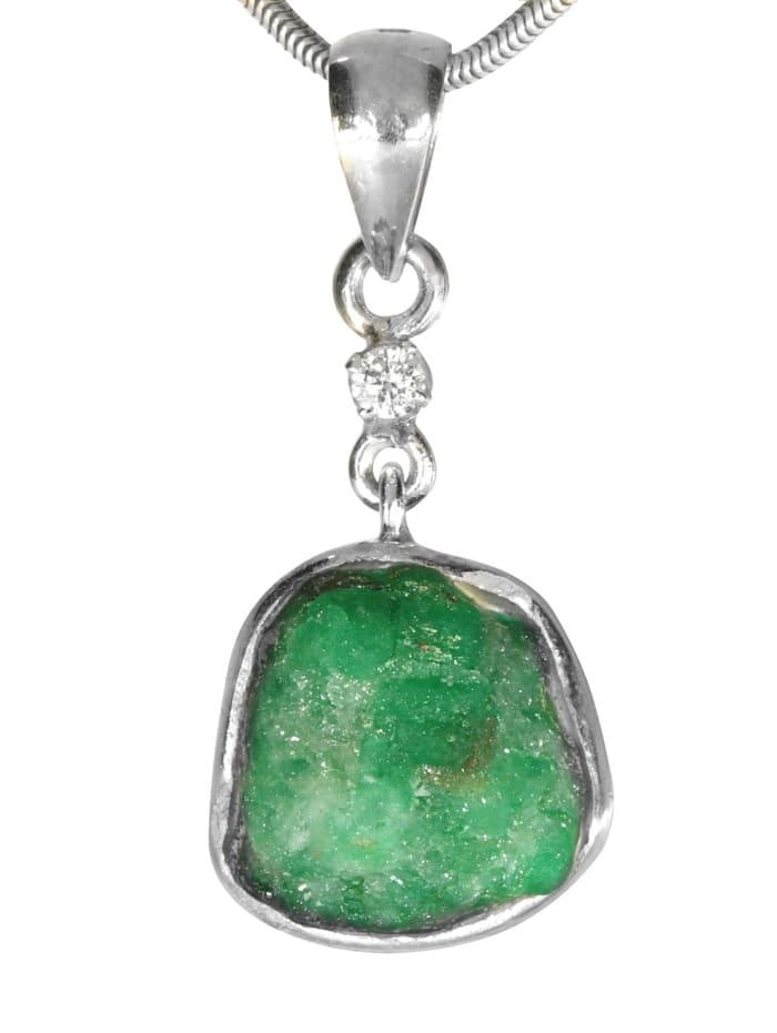 1001 Diamonds Diamant Anhänger 925 Silber, grün
