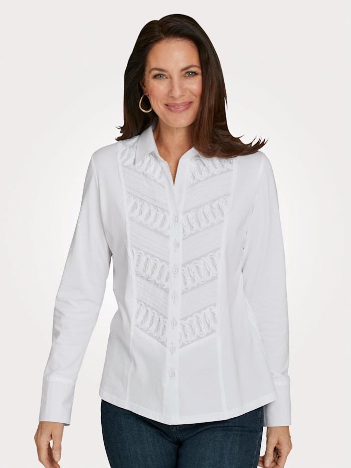 Just White Jerseybluse mit Webeinsatz, Weiß